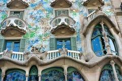 住处Battlo门面在巴塞罗那,西班牙 库存照片