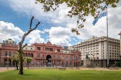 住处Rosada桃红色议院,阿根廷总统府在布宜诺斯艾利斯,阿根廷 免版税图库摄影