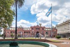 住处Rosada桃红色议院,阿根廷总统府在布宜诺斯艾利斯,阿根廷 库存图片