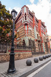 住处Vicens是一个现代派大厦在巴塞罗那,卡塔龙尼亚,西班牙 免版税库存照片
