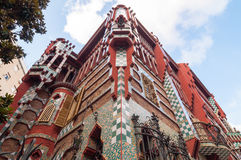 住处Vicens是一个现代派大厦在巴塞罗那,卡塔龙尼亚,西班牙 免版税库存图片