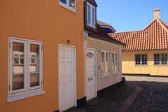 住宅区在城市欧登塞在丹麦 库存照片