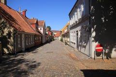 住宅区在城市欧登塞在Danmark 免版税库存图片