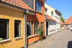 住宅区在城市欧登塞在Danmark 库存照片