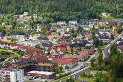 住宅区在纳姆索斯,挪威 免版税图库摄影