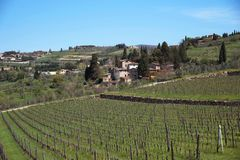 住宅区拉达伊恩基亚恩蒂全景美丽的景色和葡萄园和橄榄树在Chianti地区,托斯卡纳,意大利 图库摄影