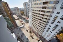 住宅复杂大厦顶视图  库存图片