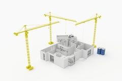 住宅房子的建筑学计划 免版税库存照片