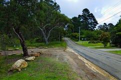 住宅街道在蓝山山脉澳大利亚 图库摄影