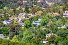住宅邻里鸟瞰图;雷德伍德市;旧金山湾区,加利福尼亚 库存图片