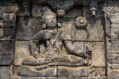 围住安心特写镜头,婆罗浮屠寺庙, Java,印度尼西亚 库存图片