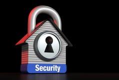 住家安全概念正确的文本的议院锁 库存照片