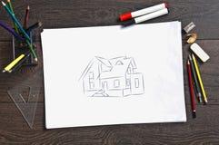 住房建造计划草图 库存图片