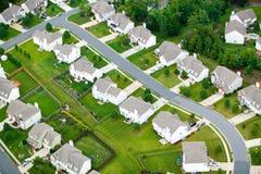 住房开发鸟瞰图在夏洛特,北卡罗来纳 免版税图库摄影