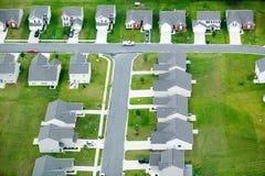 住房开发鸟瞰图在夏洛特,北卡罗来纳 库存图片