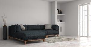 住所改善客厅现代沙发白色内阁在空的屋子内部背景家里设计3d例证,架子和 皇族释放例证