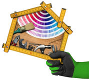 住所改善概念-工作工具和议院 图库摄影