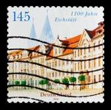 住所正方形和大教堂, Eichstatt, 1100周年serie,大约2008年 免版税库存图片