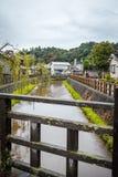 佐原市或'一点伊多'是历史的中心沿一条运河在香取市区,千叶县,日本 免版税库存照片