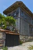 索佐波尔,保加利亚- 2016年7月16日:木老房子在索佐波尔镇,布尔加斯地区 库存图片