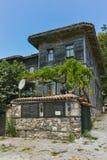索佐波尔,保加利亚- 2016年7月16日:木老房子在索佐波尔镇,布尔加斯地区 免版税库存图片