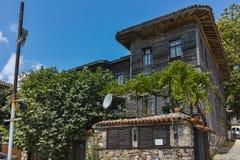 索佐波尔,保加利亚- 2016年7月16日:木老房子在索佐波尔镇,布尔加斯地区 库存照片