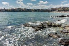 索佐波尔,保加利亚- 2016年7月16日:索佐波尔老镇海岸线  免版税库存照片