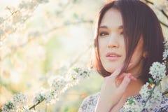 佐仓开花 户外春天美景女孩 开花的结构树 库存照片