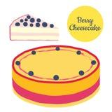 整体和切片莓果在平的样式的乳酪蛋糕例证 免版税库存照片