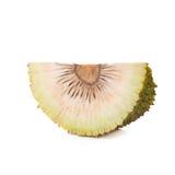 整体和半新鲜的面包树果在白色背景 免版税库存照片