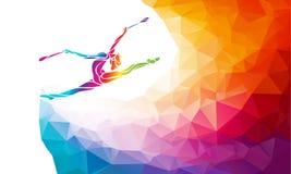 体操女孩创造性的剪影  与俱乐部的艺术体操 免版税库存图片