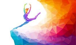 体操女孩创造性的剪影  健身 库存图片