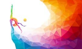 体操女孩创造性的剪影  艺术 免版税库存照片