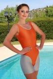 体操成套装备的健身妇女 库存照片