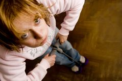 体操疲乏的妇女 免版税库存图片