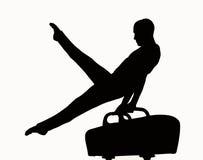 体操运动员剪影 免版税库存照片