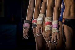 年轻体操运动员女孩线 免版税库存照片