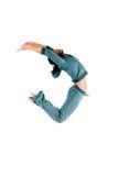体操运动员跳 库存照片