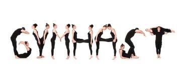 体操运动员身体形成的词体操运动员 免版税库存照片