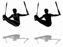 体操运动员,传染媒介凹道剪影寂静的圆环的 库存图片