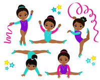 体操逗人喜爱的多文化女孩被设置 免版税库存图片