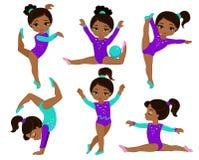 体操逗人喜爱的多文化女孩被设置 库存图片
