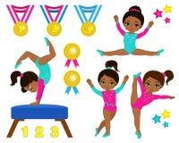 体操逗人喜爱的多文化女孩被设置 库存照片