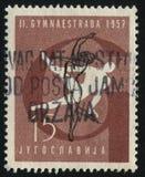 体操集会的体操运动员在萨格勒布 免版税库存图片