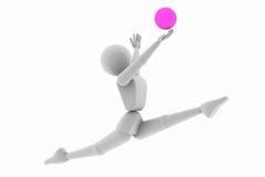 体操,跳球 免版税库存照片