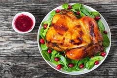 整体烤了在白色盘的鸡用沙拉和蔓越桔 免版税库存照片