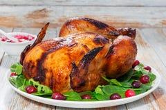 整体烤了鸡和芝麻菜、菠菜和蔓越桔沙拉 免版税库存照片