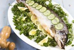 整体煮熟的三文鱼 免版税库存照片