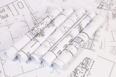 体系结构计划 工程学房子图画和图纸 库存照片