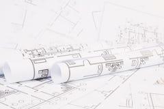 体系结构计划 工程学房子图画和图纸 库存图片